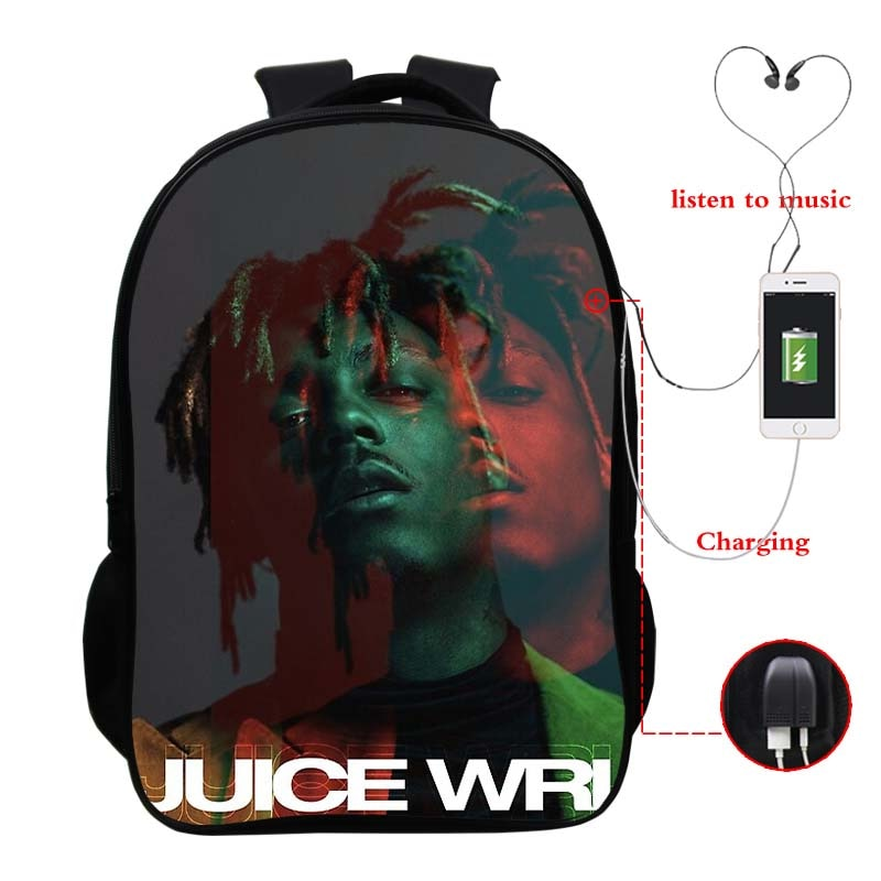 Men Women Hip Hop Juice Wrld USB Charge Backpack