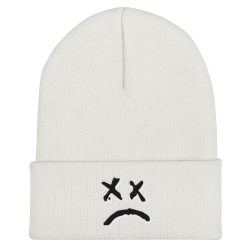 Lil Peep Sad Face Cuffed Beanie - MillionMerch