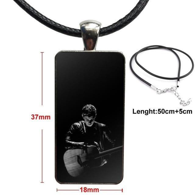 For Girls Handmade Gift Glass Cabochon Pendant Necklace Rectangle Fashion Necklace Hit Pop Singer Shawn Mendes Magcon Quality - MillionMerch